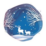 Deer couple in snowy forest. Merry Christmas Greeting card. Origami snowy winter season. Happy hplidays. New Year. Paper. Art style. Birch tree trunk. Blue Stock Image