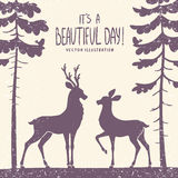 Deer couple. Vector illustration silhouette of two beautiful deer in a pine forest Stock Photography