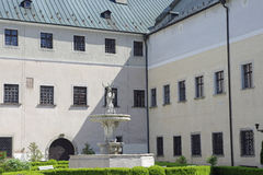 The deer in the courtyard of castle Cerveny Kamen, Slovakia Stock Photos