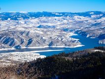 Deer creek reservoire from peak of sundance mountain Stock Photography
