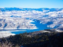 Deer creek reservoire from peak of sundance mountain Stock Photo