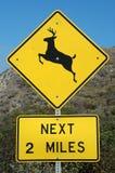 Deer Crossing. Next 2 Miles signs royalty free stock photos