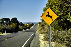 Deer Crossing Road Sign Stock Photo