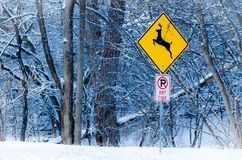 Deer Crossing. Sign in snowy winter in Illinois Stock Image