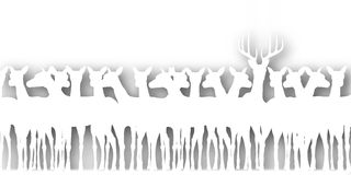 Deer cutout. Editable  cutout silhouette of a herd of deer with background shadow made using a gradient map Royalty Free Stock Photos