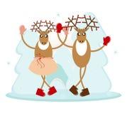Deer in dance. Two brown deer in dance Royalty Free Stock Image