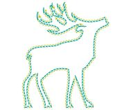 Deer on the white background is walking and looking ahead. Deer designed as a line-art icon using special AI brush. This icon for nature, wild life, tourism and
