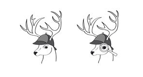 Deer with detective hat Stock Photography