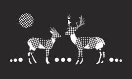 Deer and doe at dark night. Spotted vector illustration stock illustration