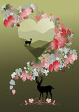 Deer and doe for valentine concept Royalty Free Stock Image