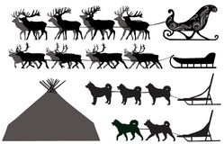 Deer and dog sleds Royalty Free Stock Image
