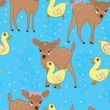Deer duck childhood seamless pattern Stock Images