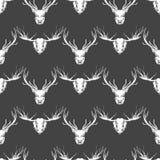 Deer and elk heads seamless pattern vector illustration