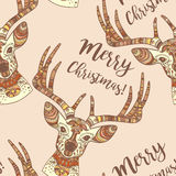 Deer face Merry Christmas seamless pattern Royalty Free Stock Photos