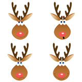 Deer faces. A set of four Christmas deer faces with different emotions Stock Image