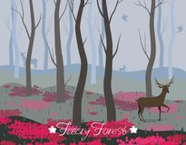 A deer in the fairy forest. Vector background for the design of cards, banners, web pages, flyers and other vector illustration