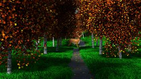 Deer in the Fall. CGI, A Single Deer standing on a stone path, through the woods, in the fall stock illustration