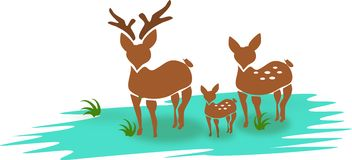 Deer family. Silhouette of brown deer family stock illustration