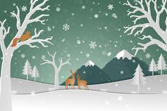 Deer family with winter snow in the forest abstract background. Happy new year and Merry Christmas  on paper art style,vector illustration Royalty Free Stock Image