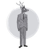 Deer fashion animal hipster white and grey design Stock Images