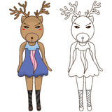 Deer fashion coloring Royalty Free Stock Photos