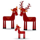 Deer and fawn. Set of funny animals with cubs on white background. vector Stock Photos