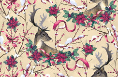 Deer, fir tree and poinsettia. Seamless Christmas pattern with deer, fir tree and poinsettia flowers hand-drawn with watercolor Royalty Free Stock Image
