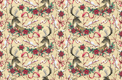 Deer, fir tree and poinsettia. Seamless Christmas pattern with deer, fir tree and poinsettia flowers hand-drawn with watercolor Stock Photography