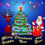 Deer fir tree and santa. Illustration deer fir tree and santa on background of the salute Stock Photos