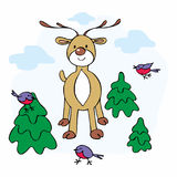Deer and fir trees. Cheerful Christmas illustration with the image of a ridiculous deer, bullfinches and fir trees Royalty Free Stock Image