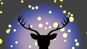 Deer and fireflies. Deer and bokeh silhouettes