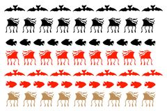Deer and fish decorative elements. Handdrawn on white font Royalty Free Stock Image