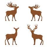 Deer flat illustration. Four cute vector minimalistic deers in standing poses, standing deer flat illustration stock illustration