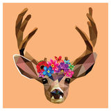 Deer with a floral crown polygon Royalty Free Stock Images