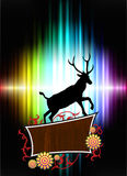 Deer with Floral Frame on Abstract Spectrum Background Royalty Free Stock Image