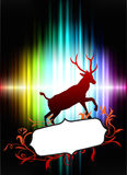 Deer with Floral Frame on Abstract Spectrum Background Stock Photography