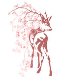 Deer and flower branches - vector spring season design Royalty Free Stock Photos