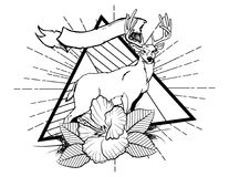 Deer with flower and leafes vintage neo traditional tattoo black and white sketch. tattoo and t-shirt designs. Hand drawn retro animal tattoo sketch with roses stock illustration