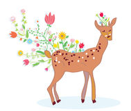 Deer and flower spring background cute Royalty Free Stock Images