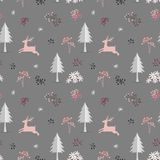 Deer in the forest christmas seamless pattern on pastel mood,vector illustration royalty free stock images