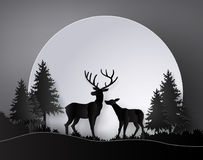 Deer in forest with full moon. Deer in forest with deer in forest with full moon.The illustrations do the same paper art and craft style stock illustration