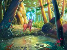 The Deer in the Forest with Fantastic, Realistic and Futuristic Style. Video Game`s Digital CG Artwork, Concept Illustration, Realistic Cartoon Style Scene stock illustration