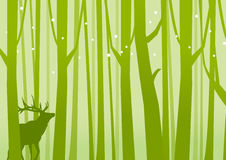 Deer in Forest Green. Deer on a background of Forest Green. Vector illustration stock illustration