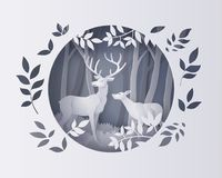 Deer in forest with snow. Illustration of winter season and Christmas day Deer in forest with snow. vector paper art style vector illustration