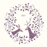 Deer frame branches Royalty Free Stock Photos