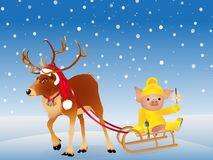 Deer in a funny Santa`s red cap. Pig in sweater on skates. 2019 Chinese New Year of the Pig. Isolated on a white background. Vecto. R illustration
