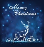 Deer, gifts and white firs. Holiday background with deer, gifts and white firs Royalty Free Stock Image