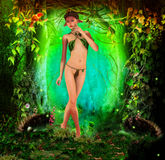 Deer girl in the woods Royalty Free Stock Photos