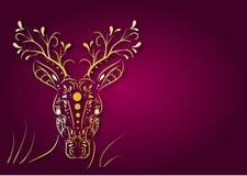 Deer golden head on dark pink background Stock Photos