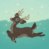 Deer in green field and snow Illustration  Stock Photography